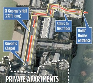A map indicates the route that the Japanese tourist took to get just yards from the Queen's private appartment