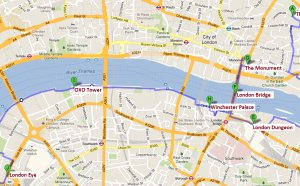 London Tower Bridge map
