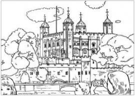 Tower of London colouring page, London colouring pages